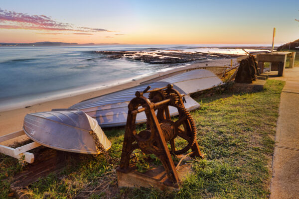 Upturned,Boats,And,The,View,South,From,Long,Reef,On